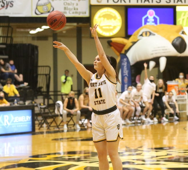FHSU's Jaden Hobbs shoots a 3-pointer during the Tigers' MIAA Tournament semifinal win against Emporia State on Saturday.