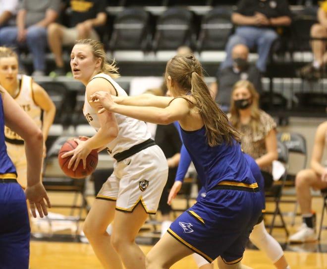 FHSU's Katie Wagner gets set for a turnaround jumper on Sunday against Nebraska-Kearney at Gross Memorial Coliseum.