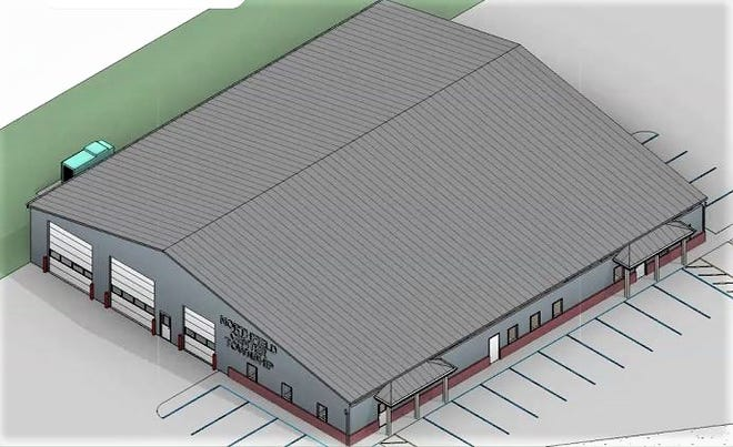 This rendering from an elevated position shows what the new Northfield Center Township safety/administrative center may look like. The building is proposed at the service department site at 8484 Olde Eight Road.