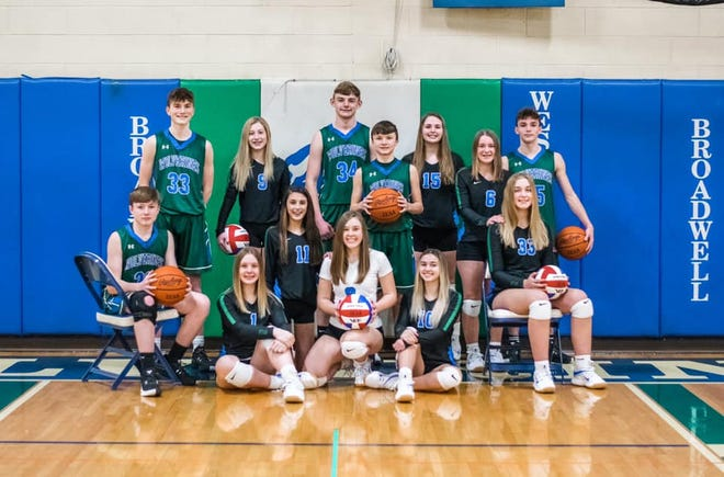 West Lincoln Broadwell athletes Front row sitting and/or kneeling:Brayden Hagerman, Jane Turner, Emma Baker, Kendal Long, Ivy Sandel and Rebecca Burg. Standing: Blake Horn, Mallory Short, Drew Hayes, Brady Miller, Piper Whiteman, Sydney Ramlow and Jude Toft .
