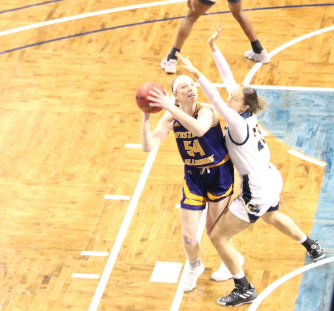 Western Illinois' Evan Zars goes up for a basket during Sunday's Summit League Tournament quarterfinal game against Kansas City.