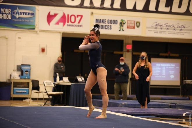 Robyn Kelley tied her career high on vault for the University of New Hampshire Saturday, March 6, 2021.