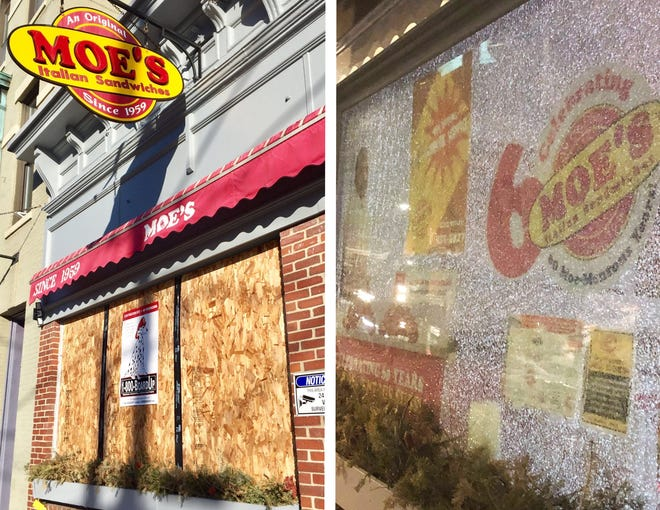 Moe's Italian Sandwiches on Daniel Street in Portsmouth remained open Sunday after its window was smashed by vandals Saturday, according to the owner.