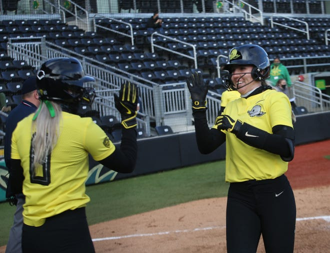 Oregon's Hannah Galey, left, and Terra McGowan celebrate after scoring against Portland State during a March 6 game at Jane Sanders Stadium.