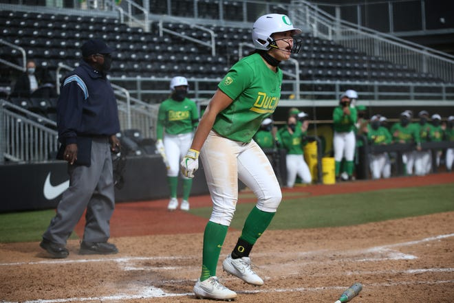 Oregon freshman shortstop Alyssa Brito hit a walk-off grand slam during the Ducks' 8-0 win over Sacramento State on Sunday at Jane Sanders Stadium.