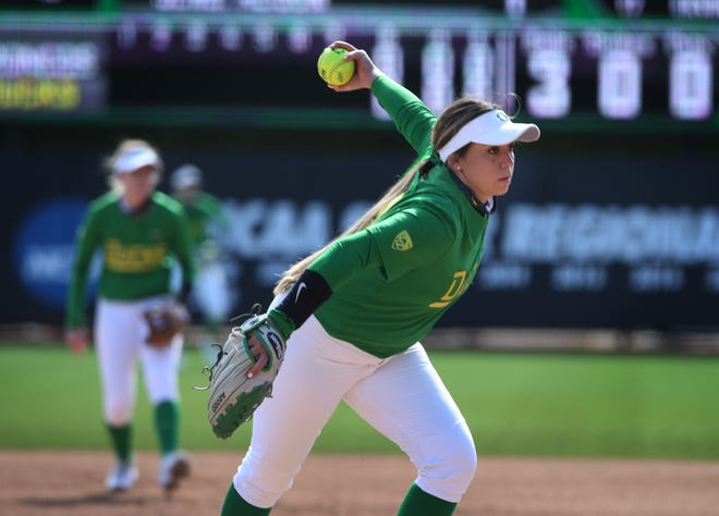 Oregon's Brooke Yanez pitches against Boise State at Jane Sanders in Eugene March 7, 2021.