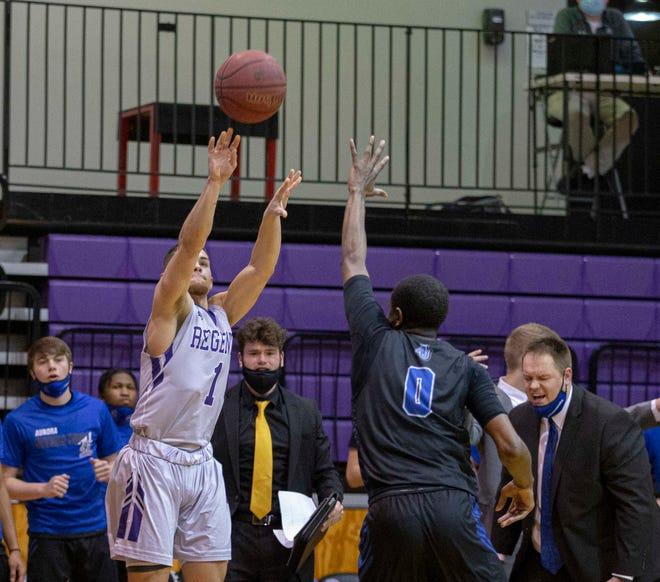 Rockford University's Brandon Emerick shoots a 3-pointer on Saturday, March 6, 2021, at Rockford University.