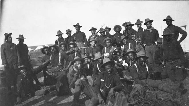 Buffalo Soldiers of the 10th Cavalry regiment, circa 1898.