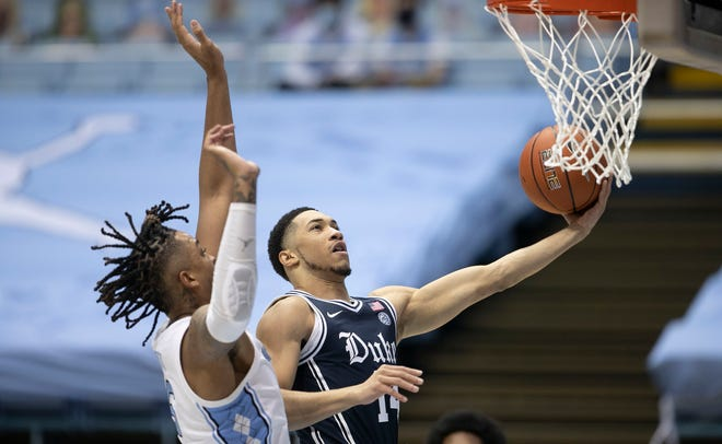 Jordan Goldwire drives to the basket during Duke's March 6 game against North Carolina.