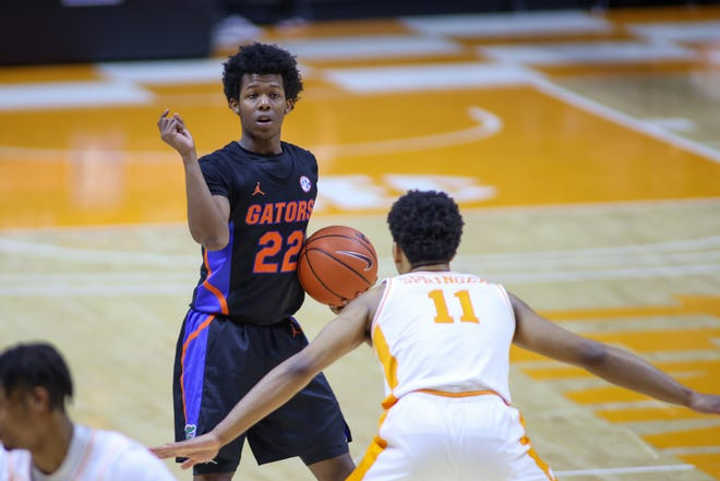 Florida guard Tyree Appleby calls out a play against Tennessee during the first half Sunday at Thompson-Boling Arena in Knoxville, Tenn.