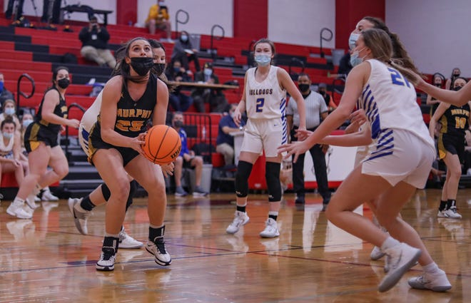 Murphy forward Sarah Pullium (with ball) was named N.C. High School Athletic Association Female Athlete of the Year.