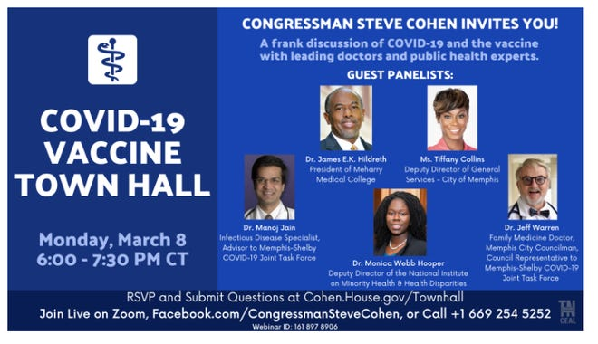 The panelists for a COVID-19 vaccine town hall that will be hosted by Rep. Steve Cohen.