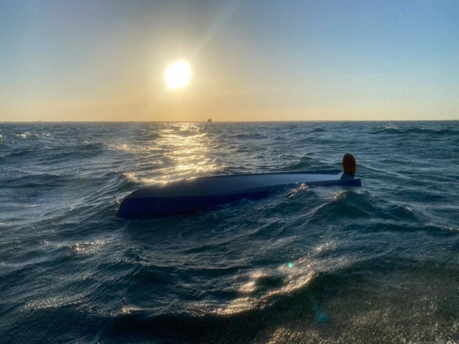 A sailboat traveling from Tampa Bay to the Florida Keys capsized 4.5 miles from Gordon Pass on Sunday, according to the Naples Fire-Rescue Department.