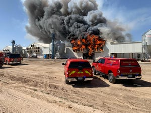 A second-alarm fire destroyed two barns and killed 165,000 hens at Hickman's Family Farms in Arlington on Saturday, March 6, 2021.