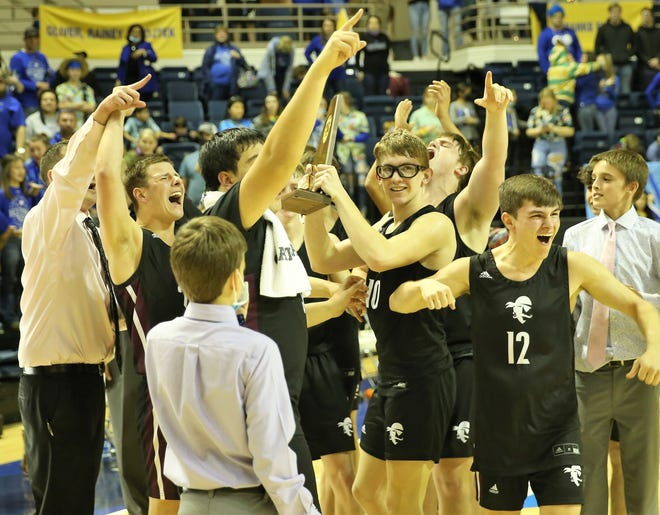 The Eula High School Pirates celebrate after holding off Westbrook in a Class 1A Region II championship at Angelo State University's Junell Center on Saturday, March 6, 2021. Eula advanced to the state tournament next week.