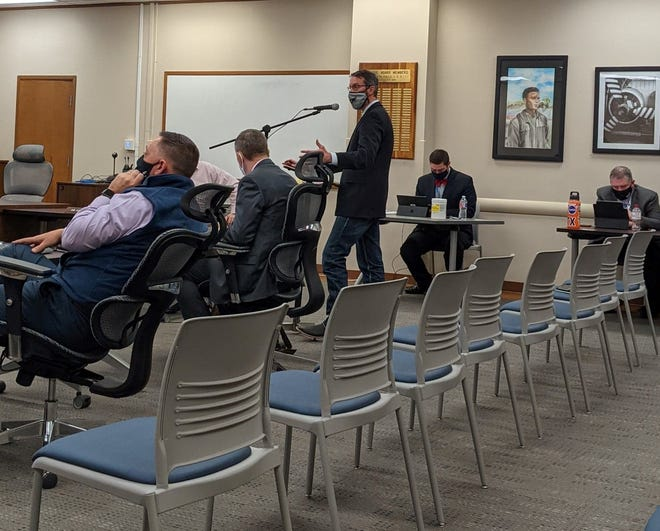 Scot Hafley, Wichita Falls ISD's athletics director presents a proposal during a Feb. 23, 2021, school board special session for planning and budgeting for 2021-2022.