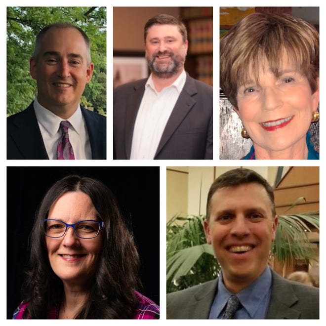 Kevin Hight (top left), Andrew Clark (top middle) and Andrea Willott (top right) are running for reelection in Bee Cave this May. Joining them are Joann Taylor (bottom left) and Andre Rebber (bottom right). The top three vote getters will be seated on the council