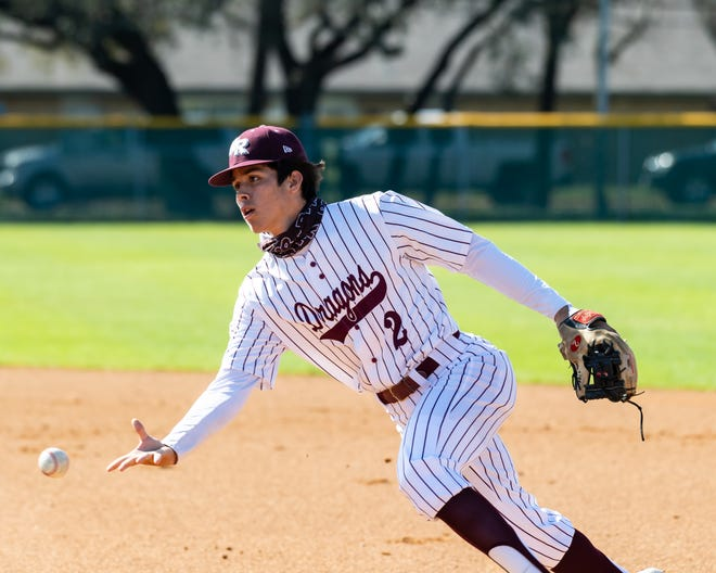Round Rock shortstop Thomas Soto, tossing the ball during a game this month against Lake Travis, will play next year at the University of Dayton. He said the pandemic limited the team's practice time before the season.