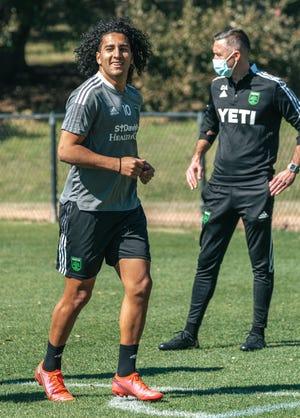 Austin FC forward Cecilio Domínguez exercises during the club's preseason training at St. Edward's University.