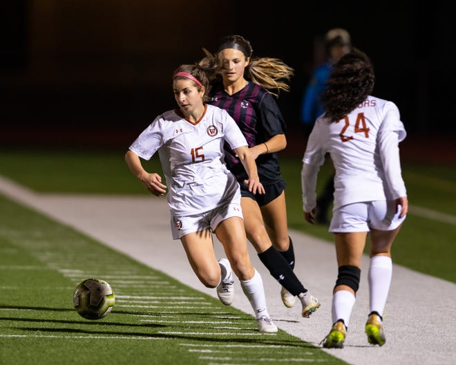 Eve Kubala of Westwood brings the ball upfield against Round Rock last week. Round Rock won a district girls soccer match at home 2-1 over Westwood on March 2 to remain unbeaten in district play.