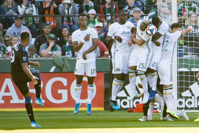 Former San Jose Earthquakes forward Danny Hoesen fires a penalty kick toward Portland Timbers defenders during their 2019 match in Portland, Ore. Hoesen appeared in 104 matches for San Jose in four seasons but now is with Austin FC.