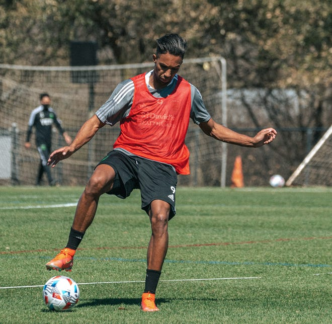 Austin FC striker Danny Hoesen controls the ball during training at St. Edward's University. Hoesen will wear No. 9 for the club in its inaugural year.