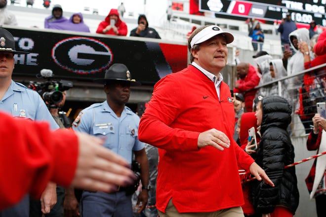 Georgia coach Kirby Smart at the Dawg Walk ahead of a spring G-Day game in Athens, Ga., Saturday, April 20, 2019. [Photo/Joshua L. Jones, Athens Banner-Herald]