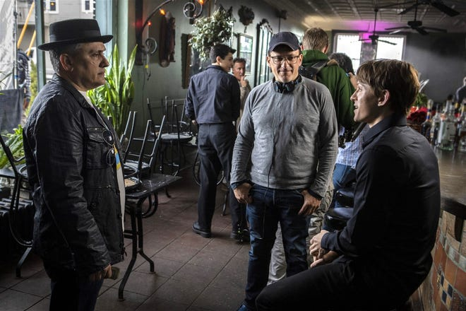 """Directors Joe Russo, left, Anthony Russo, center, and actor Tom Holland collaborate on the Cleveland-based film """"Cherry."""""""
