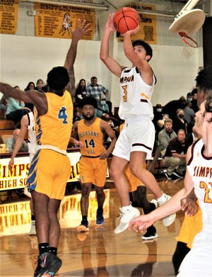 Simpson's Zach Vargas (3) goes up for a jumper over the outstretched hand of Chrisoric McGhee (4) during a game earlier this year. Vargas had 17 points to lead the Broncos past the Eagles in the Class C quarterfinals on Friday, 69-56.
