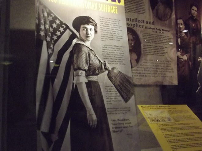 "The ""Celebrate Women's Suffrage"" exhibit that is on display at the Bartlesville Public Library for Women's History Month through March."