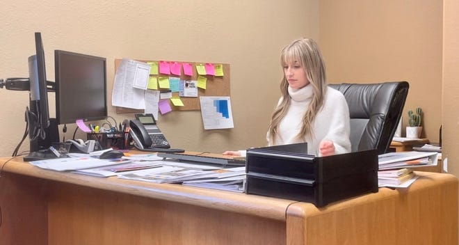 Cameo Rector, at the Chamber Office, is working on new Chamber initiatives and preparing for the annual meeting.