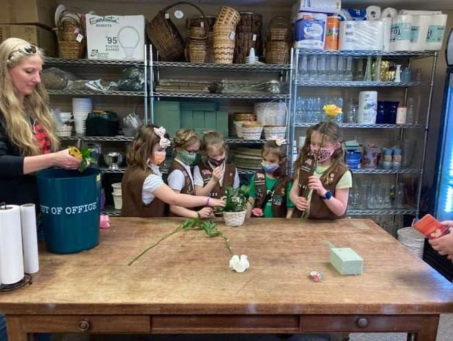 Brownie Girl Scout Troop 41235 putting what they have learned into practice.