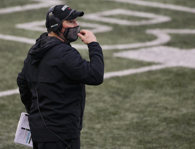 Ohio State football coach Ryan Day went through a few styles of protective mask before setting on a Shema97 in November.
