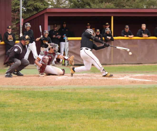 Mason Ruhlman in a game in 2019. Ruhlman hit the game-tying double and scored the winning run in Minnesota Crookston's 9-8, 11-inning win over St. Cloud State Sunday.