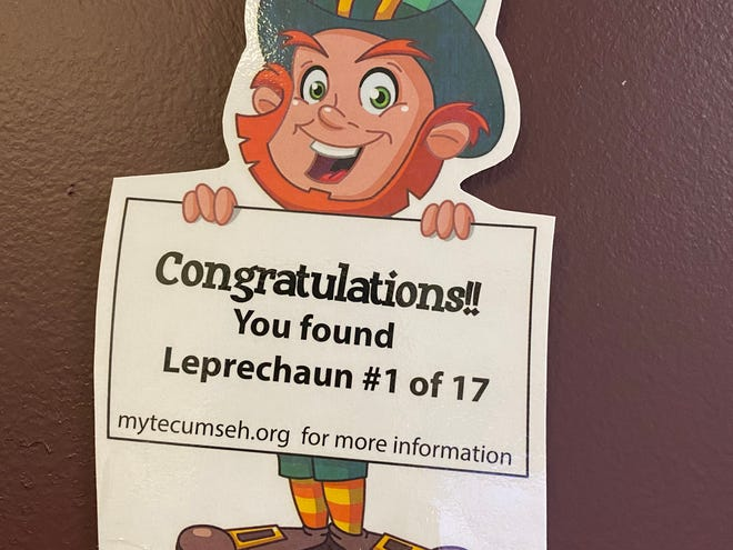 One of the laminated leprechauns that will be placed near businesses throughout Tecumseh later this month for the city's first Leprechaun Hunt.