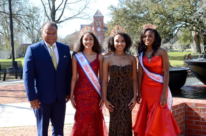 Shown at Louisiana Square are: Donaldsonville Mayor Leroy Sullivan, 2021 Miss Donaldsonville Gabrielle Johnson, a student at Ascension Catholic High School; 2019 and 2020 Miss Donaldsonville Jaliyah Winchester, an LSU student; and 2021 Teen Miss Donaldsonville Ja'Kayla Landry, a student at Donaldsonville High School.