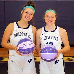 Seniors Haley Caccavale and Makenna Peet were recognized last week for their four-year contributions to the Wallenpaupack Area girls basketball team. In their final home game of the season the Lady Bucks posted a 44-26 victory over Delaware Valley.