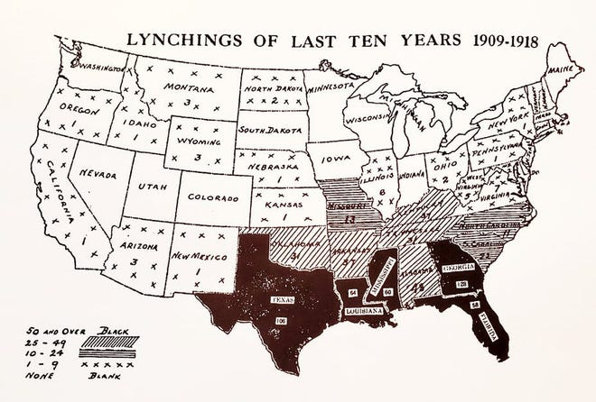 An early 20th-century NAACP map showing lynchings between 1909 and 1918. The maps were sent to politicians and newspapers in an effort to spur legislation protecting Black Americans. (Library of Congress)