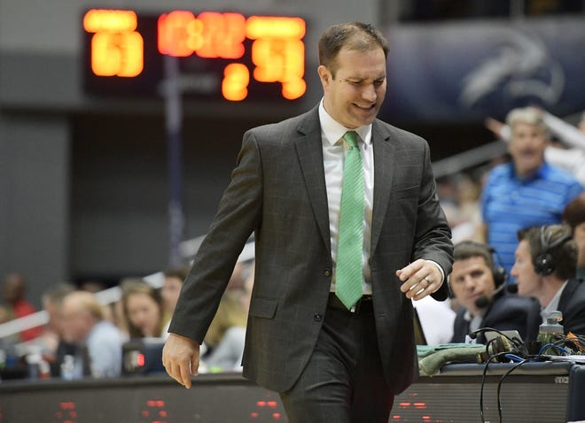 Jacksonville University head basketball coach Tony Jasick, pictured during a 2020 game against the University of North Florida, was fired after seven seasons at the helm of the Dolphins.
