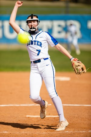 Gunter's Rhyan Pogue threw a one-hitter with 14 strikeouts in a victory over Pottsboro in 11-3A play.