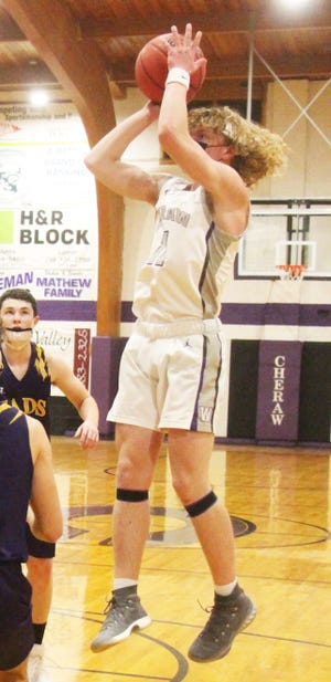 Cheraw High School's Braeden Harris puts up a shot against Eads in February. The Wolverines drew a first round bye in the Class 1A state playoffs.