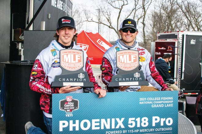 Cole Breeden of Eldridge and Cameron Smith of Nixa won the first national title in school history for Drury University in a fishing tournament on Grand Lake in Grove, Okla.