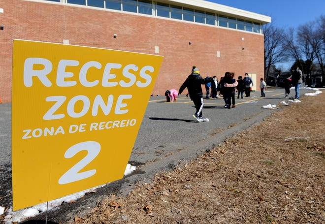 Recess zones at Framingham's Woodrow Wilson Elementary School, March 8, 2021. It was the students' first recess after nearly a year of social distancing.
