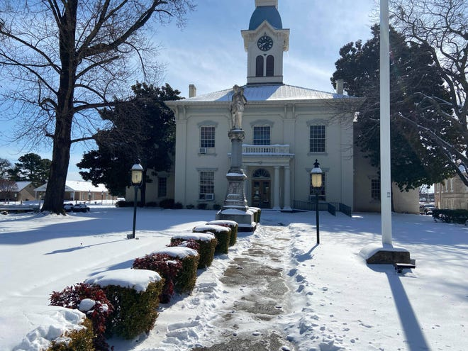 Crawford County Court in Van Buren is seen before the snow melted in February. County street crews are working to maintain the roads after snow and ice impacted the streets.
