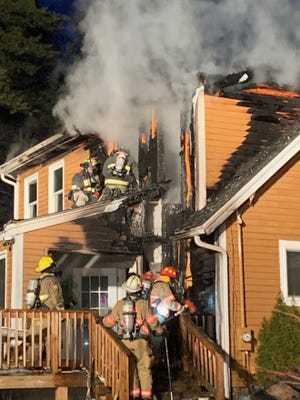 Firefighters  battled a blaze Sunday that caused serious damage to the family home of Kingston Fire Chief Graham Pellerin on Sunday evening.