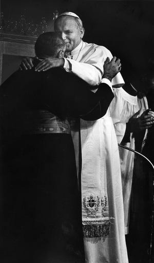 Pope John Paul II visits Boston on Oct. 2, 1979, as he launches his first tour of the U.S., one year into his papacy.