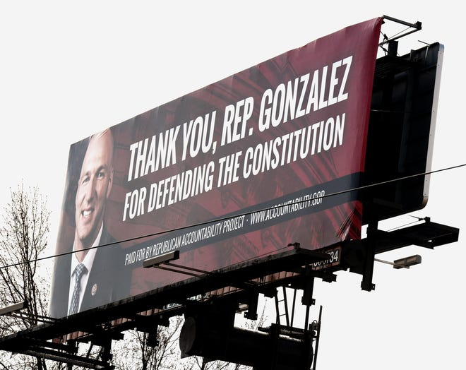 A billboard thanking Rep. Anthony Gonzalez [R-OH16] for defending the constitution , paid for by The Republican Accountability Project  on Portage Ave. NW near the Whipple Avenue intersection in Jackson Township.