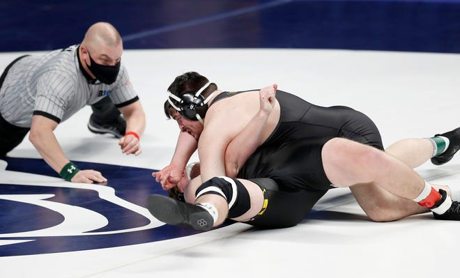 Tony Cassioppi, a sophomore at Iowa and a former Hononegah wrestler, took third at this past weekend's Big Ten Wrestling Championships. He had two pins, including this one on Saturday at the Bryce Jordan Center in University Park, Pennsylvania.