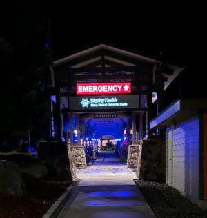 Mercy Medical Center Mt. Shasta will be lit up with blue light in recognition of the one year anniversary of WHO declaring COVID-19 a global pandemic.