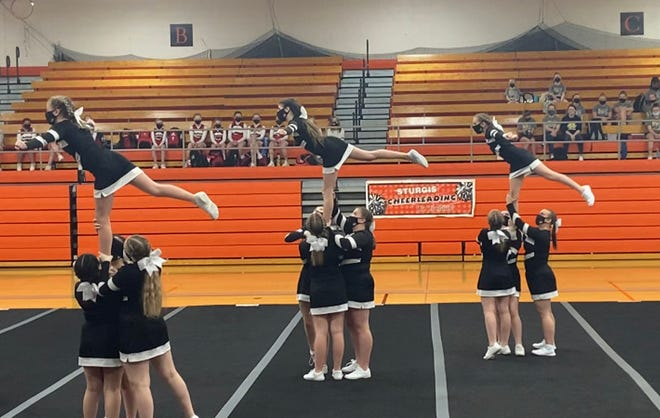 The Sturgis Middle School competitive cheer team took first place on Saturday.